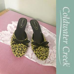 size 8 green, black leopard printed kitten heels